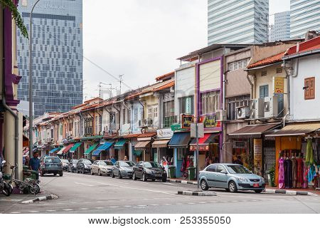 Singapore, Singapore - January 16, 2013. Colonial Architecture Of City. Buildings With Many Decorati