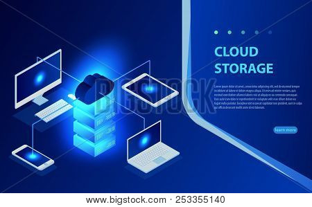 Isometric Flat Cloud Hosting Network Vector Illustration. Online Computing Storage 3d Isometric Conc