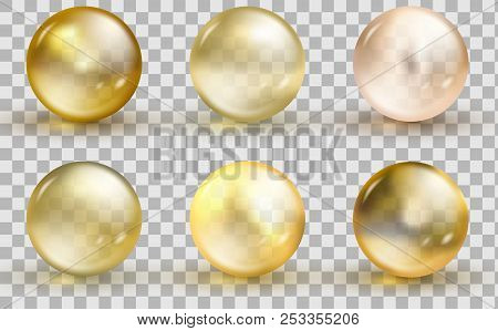 Golden Glass Ball Template. Oil Gold Bubble Isolated On Transparent Background. Vector Realistic Yel