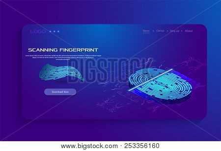 Abstract Technology Background. Cyber Security Concept. Finger Scan In Futuristic Style. Biometric I
