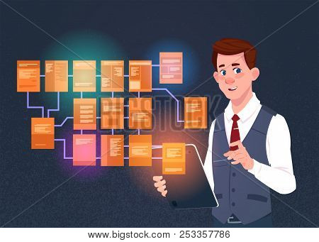Businessman With Laptop Over Site Map Suitable For Info Graphics, Websites And Print Media And Inter