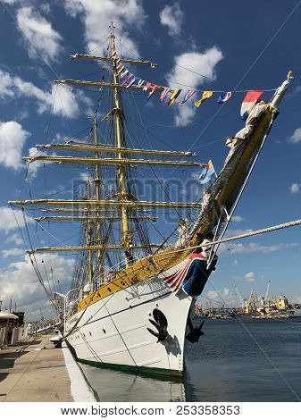 Constanta, Romania - August 11, 2018: The Three Masted Barque Mircea, On The Occasion Of The Romania