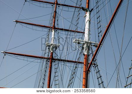 Sailing Yacht. Mast For Sails. The Sails Are Folded
