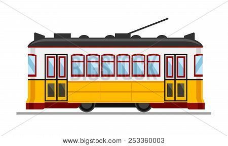 Famous Vintage Yellow 28 Tram In Lisbon, Portugal. Vector Simple Flat Illustration.