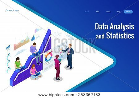 Isometric Web Banner Data Analysis And Statistics Concept. Vector Illustration Business Analytics, D