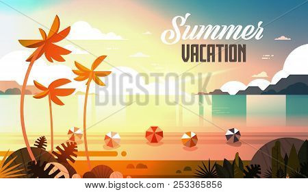 Sunset Tropical Palm Beach Balls View Summer Vacation Seaside Sea Ocean Flat Horizontal Lettering