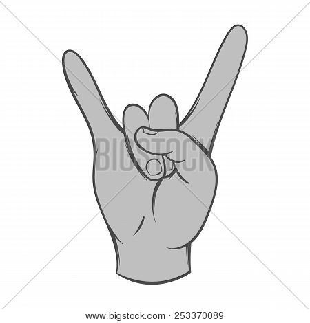Gesture Rock Musician Icon In Black Monochrome Style Isolated On White Background. Gestural Symbol.