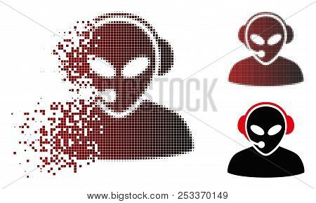 Vector Alien Call Center Icon In Dispersed, Pixelated Halftone And Undamaged Solid Versions. Disappe