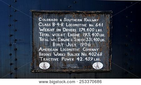 Leadville, Co, Usa, July 14, 2018 - Sign Describing The Specifications Of The 1906 Colorado And Sout