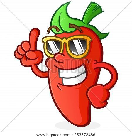 Hot Pepper Cartoon Character With Attitude Wearing Sunglasses