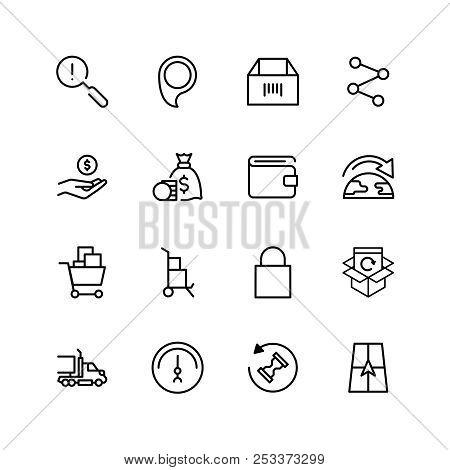Online Market Flat Icon Set. Single High Quality Outline Symbol Of Info For Web Design Or Mobile App