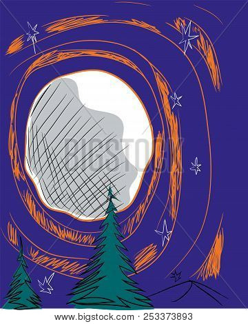 Moon And Pine Trees.  Illustration Of Moon And Orange Circles In The Jungle.
