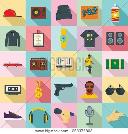 Hiphop Rap Swag Music Dance Icons Set. Flat Illustration Of 25 Hiphop Rap Swag Music Dance Icons For