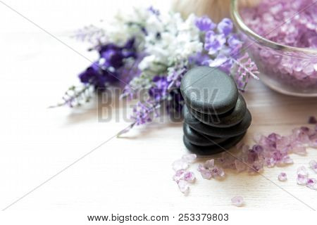 Lavender Aromatherapy Spa With Rock Stone Spa. Thai Spa Relax Treatments And Massage White Backgroun
