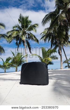 Old, Well Traveled Scratched Suitcase On Tropical Sandy Beach With Palm Trees - Upolu Island, Wester