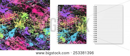 Realistic Vector Image (layout, Mock-up) Of A Hardcover Notebook With A Silvery Spiral Attached, Top