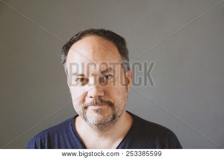 Smiling Middle Aged Forty-something Man With Horseshoe Mustache, Real People
