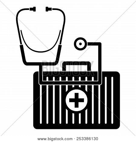 Stethoscope, First Aid Kit Icon. Simple Illustration Of Stethoscope, First Aid Kit Icon For Web Desi