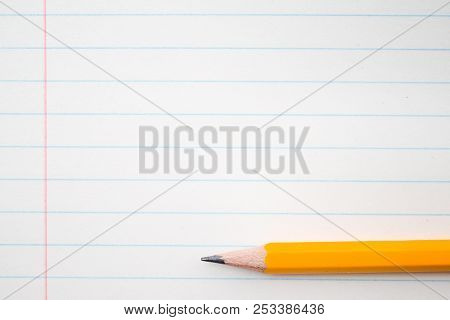 Back To School, Education Concept With Orange Pencils Close Up And Composition Book On Background Fo