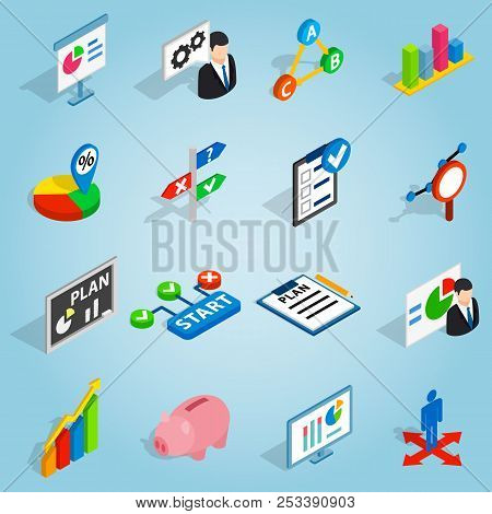Isometric Business Plan Icons Set. Universal Business Plan Icons To Use For Web And Mobile Ui, Set O