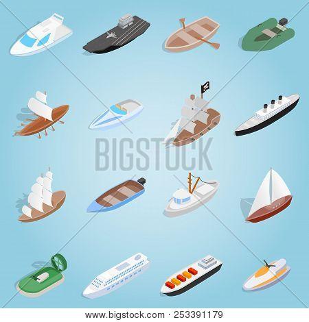 Isometric Ship Set Icons. Universal Ship Icons To Use For Web And Mobile Ui, Set Of Basic Ship Eleme