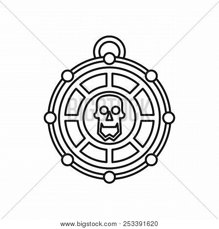 Piratical Medallion With Skull In Outline Style Isolated On White Background Illustration