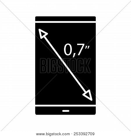 Smartphone Screen Size Glyph Icon. Display Diagonal Inch Size. Silhouette Symbol. Negative Space. Ve