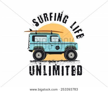 Vintage Surf Emblem With Retro Woodie Car. Surfing Life Unlimited Typography. Included Surfboards, R