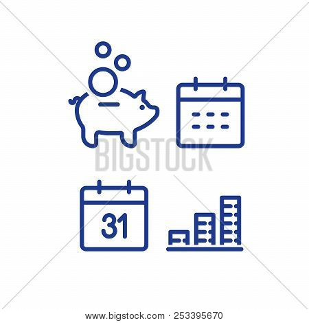 Financial Calendar Line Icon, Monthly Payment Outline Symbol, Annual Income Concept, Piggy Bank Savi