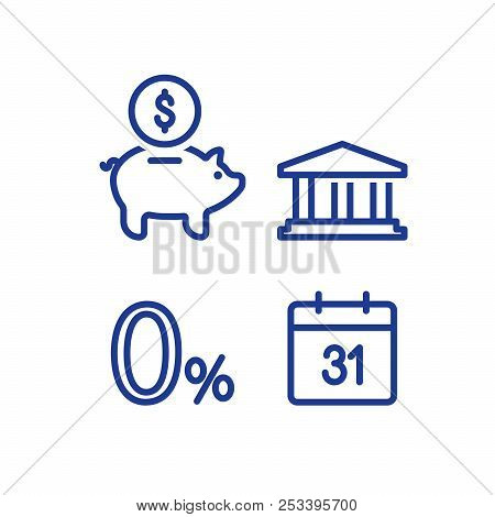 Zero Percent Sign, Financial Calendar Line Icon, Monthly Payment Outline, Annual Income, Piggy Bank