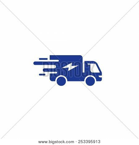 Truck delivery services, fast relocation, transportation company logo elements, shipping order, distribution vector flat icon poster