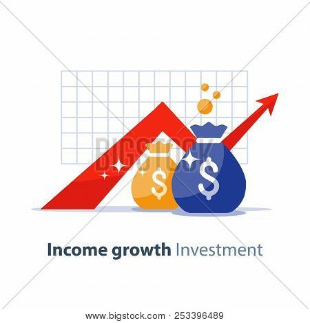 Future Income Growth Graph, Money Bags, Return On Investment Chart, Budget Planning, Time Is Money,