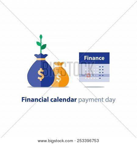 Financial Calendar Illustration, Budget Plan, Payment Bay, Finance Planner, Monthly Installment, Tim