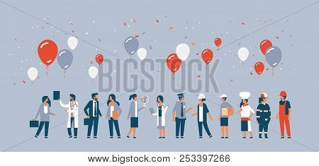 Labor Day People Different Occupations Stand Together Communication Celebration Balloons Concept Gra