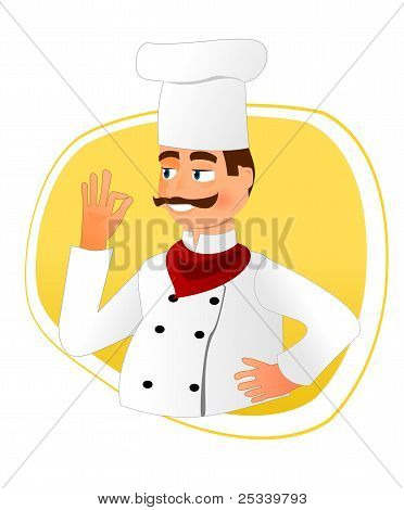 Smiling chef with mustache