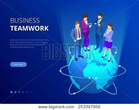 Isometric Business Team, Business People Concept. Web Banner. Business People Are Standing On A Worl