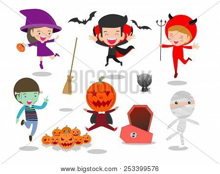 Halloween Kids Costume Party On White Background, Group Of Child In Halloween Costume Jumping, Happy