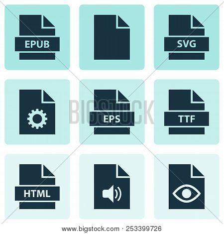 Types Icons Set With Epub, Paper, Folio And Other Eps Elements. Isolated  Illustration Types Icons.