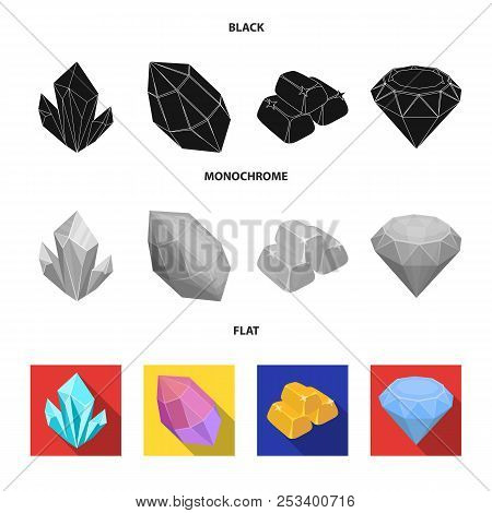 Crystals, Minerals, Gold Bars. Precious Minerals And Jeweler Set Collection Icons In Black, Flat, Mo