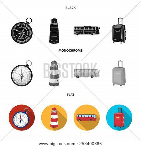 Vacation, Travel, Lighthouse, Compass .rest And Travel Set Collection Icons In Black, Flat, Monochro