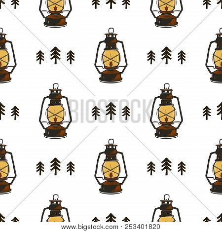 Retro Camp Seamless Pattern With Lanterns And Trees. Vintage Hand Drawn Concept. Old Style Colors. S