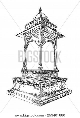 Traditional Rajasthan Architecture Building Arch Vector Illustration