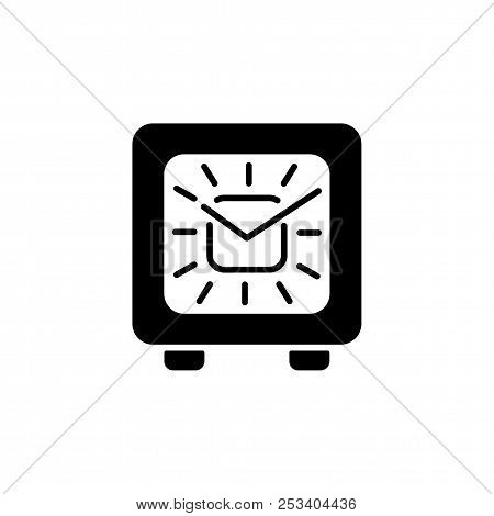Black & White Vector Illustration Of Modern Desk Square Timepiece. Flat Icon Of Alarm Clock With Clo