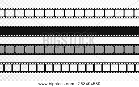 Seamless Film Strips On Transparent Background. Vintage Cinema And Photo Tape. Retro Film Strips. Ve