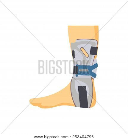 Medical Fixing Overlay On Hurted Human Leg Isolated Banner White Background, Part Of Limb In Special