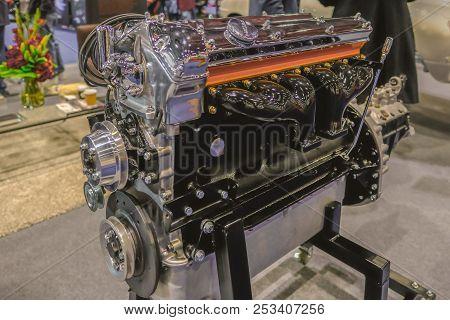Excel, London, Uk - February, 16, 2018: 6 Cylinder Jaguar Engine Displayed At The Car Show.