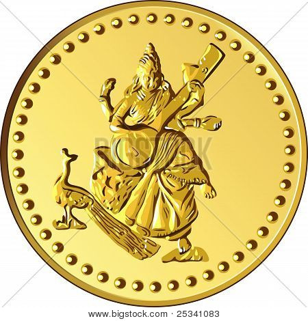 shiny gold coin with the image of dancing and playing a musical instrument of Indian four-armed Shiva poster