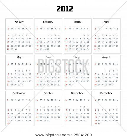 Calendar for 2012 isolated on white background