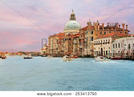 Jun 8, 2018 Venice Italy - View Of Grand Canal With Boats In Foreground And Basilica Di Santa Maria