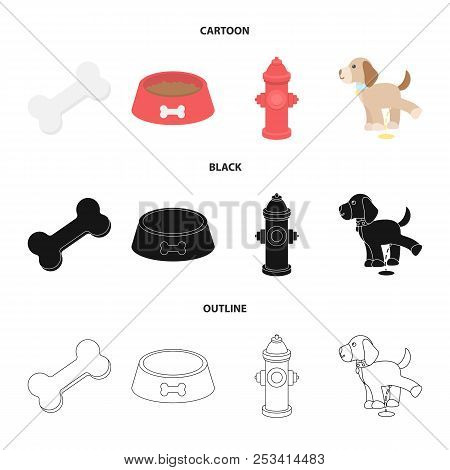 A Bone, A Fire Hydrant, A Bowl Of Food, A Pissing Dog.dog Set Collection Icons In Cartoon, Black, Ou